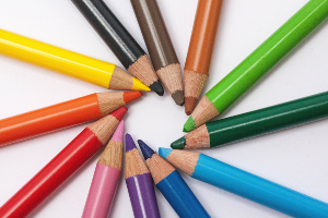 Coloured pencils in a circle