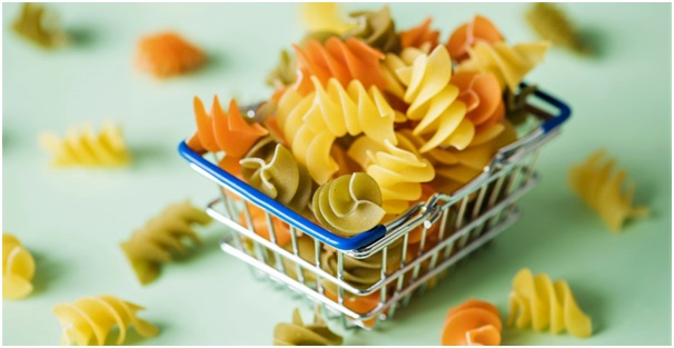 Pasta in a tiny shopping basket illustrating our example case study based on an Italian pasta company